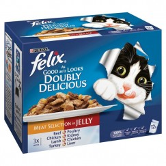 Felix As Good As It Looks Doubly Delicious Pouches, Meat 12x100g