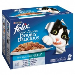 Felix As Good As It Looks Doubly Delicious Pouches Fish in Jelly 12x100g