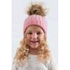 Child's  FAUX FUR BOBBLE POM POM HAT- Various Colours Available